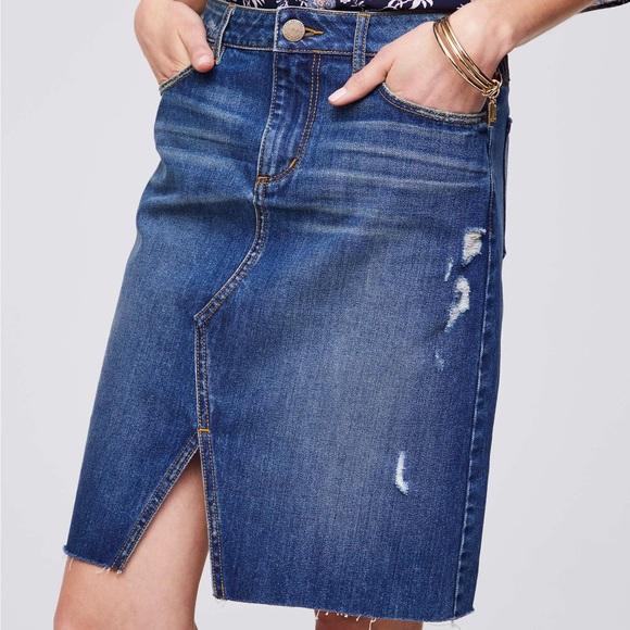 f28fc0a3f4 LOFT Skirts | New Slit Denim Skirt | Poshmark
